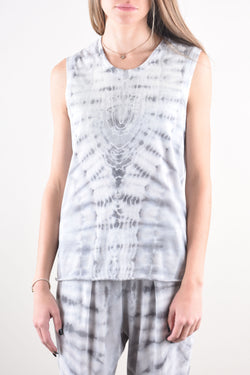Fitted Muscle Tank in Ice Tie Dye
