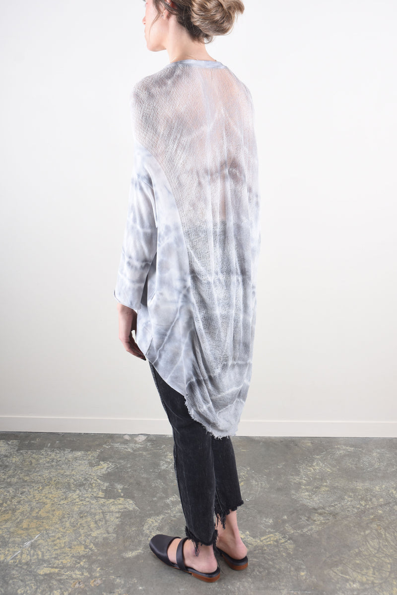 3/4 Sleeve Cocoon Top in Ice Tie Dye