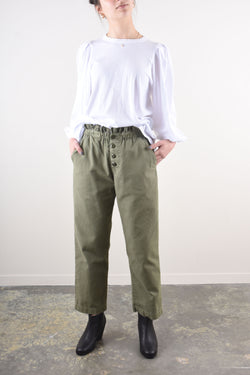 Eyelet Gunny Sack Trouser in Army