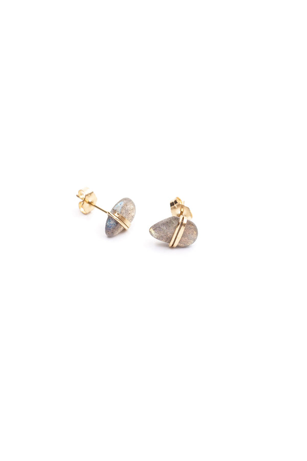 Mary MacGill Large Stone Studs in Labradorite