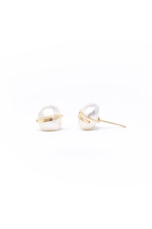 Large Baroque Studs in White