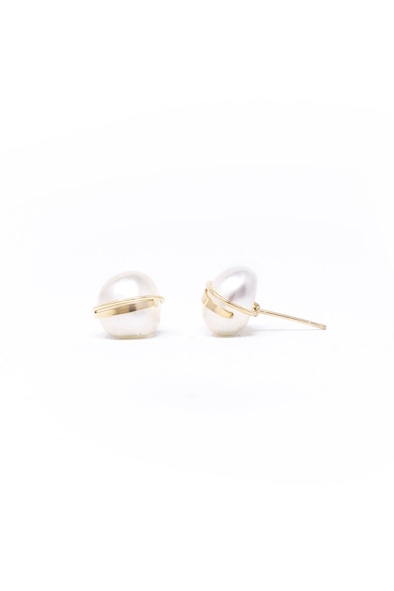 Mary MacGill Large Baroque Studs in White