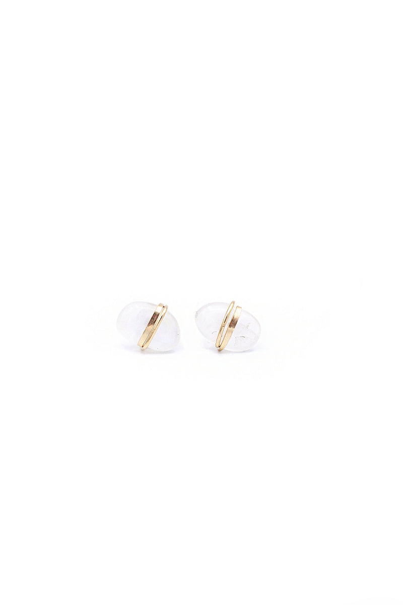 Large Stone Studs in Moonstone