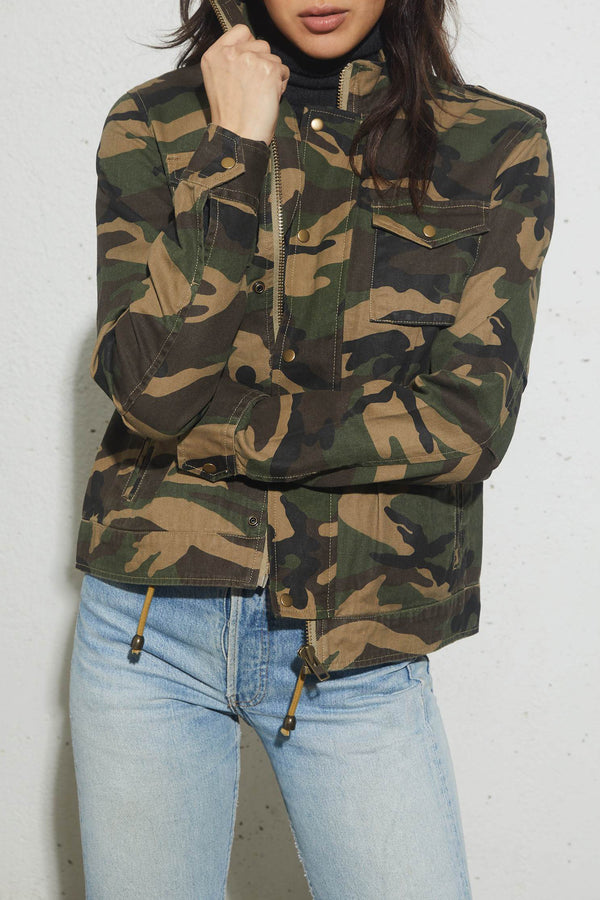 Carole Military Jacket in Woodland Camo