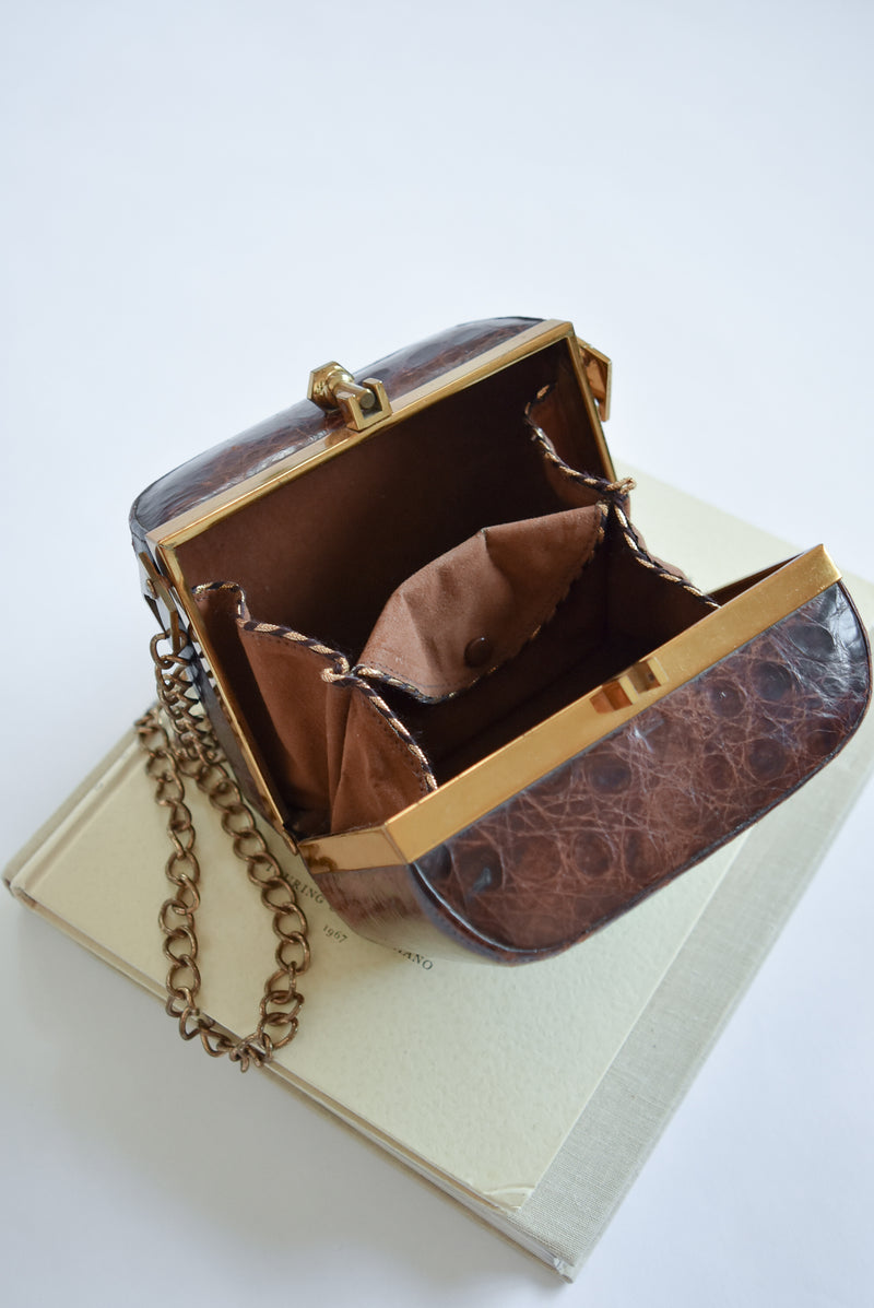 Vintage Alligator Leather Box Bag with Chain