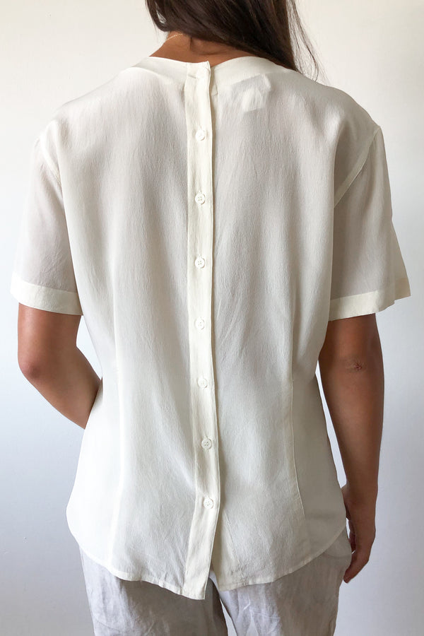 Vintage Ivory Silk Back Button Top