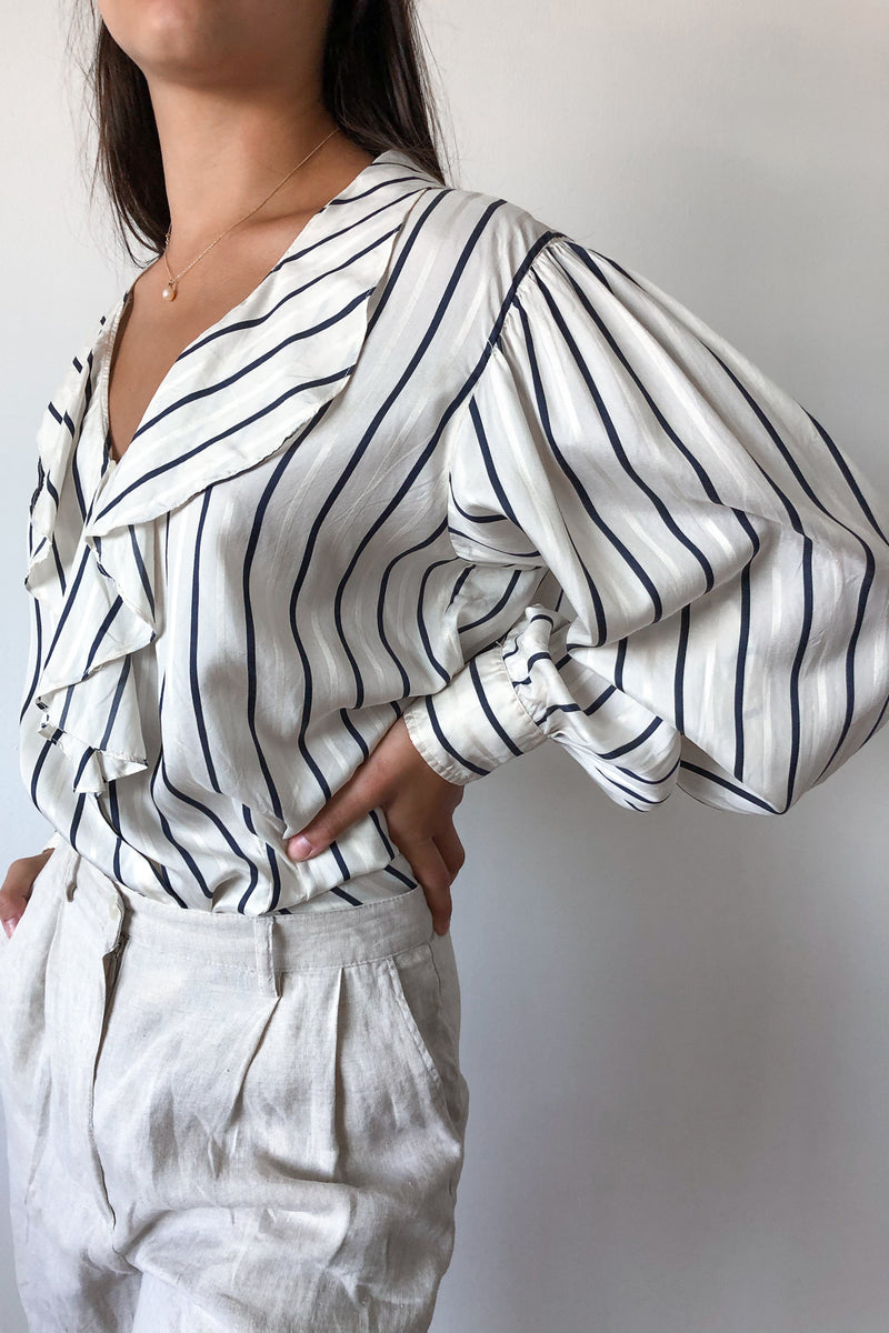 Vintage Ivory Striped Silk Blouse