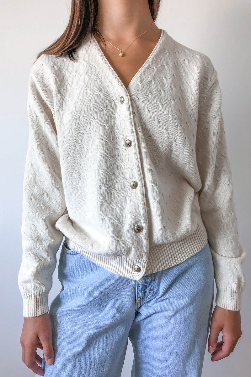 Vintage Izod Ivory Cable Knit Cardigan