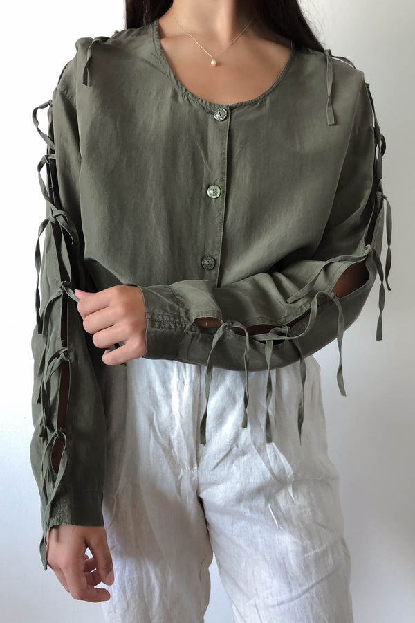 Vintage Silk Long Sleeve Blouse with Tie Fringe