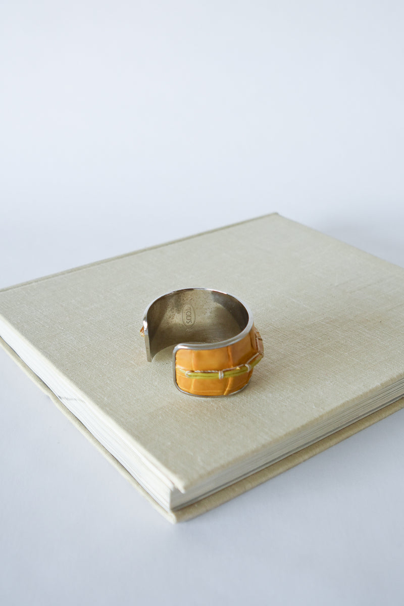 Vintage Tods Yellow Leather Cuff