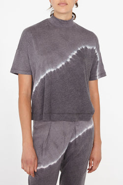 Mock Neck Boxy Top in Night Grey