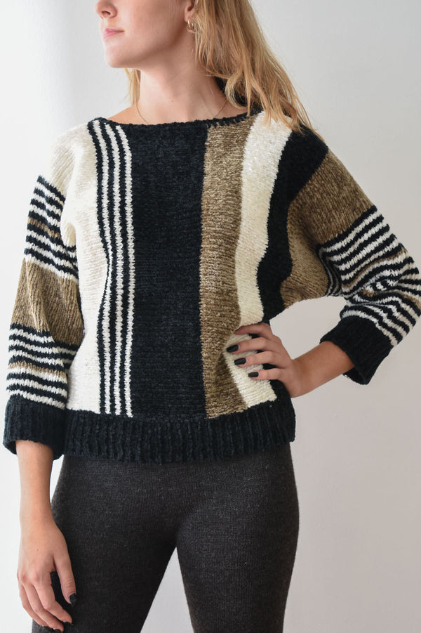 Vintage Chenille Striped Sweater