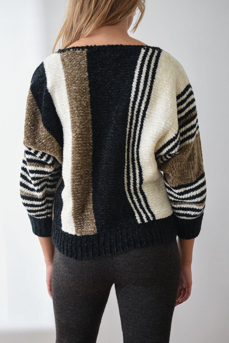 Velvety vintage chenille sweater with ivory, brown and black stripes and dolman sleeves.