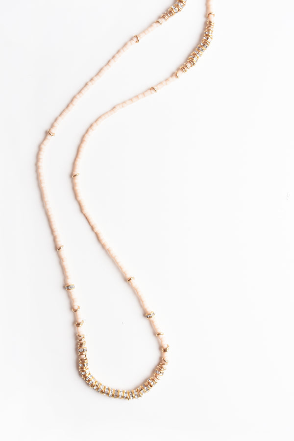 Long Full Crystal Necklace in Bare