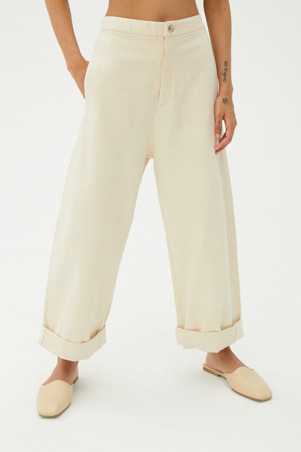 Chunky Cotton Pants in Natural
