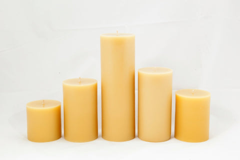 beeswax hand made pillar candles by award winner Suz E Bee candles