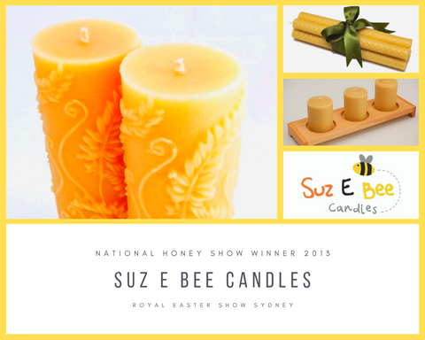 Awards for Beeswax hand rolled and moulded candles for Suz E Bee candles