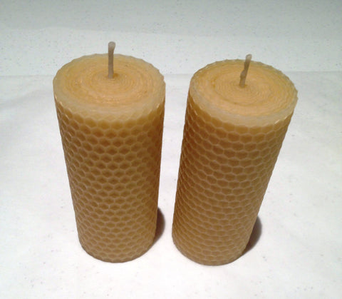 10cm MediumHand rolled 100% Pure Australian Beeswax Pillar Candle