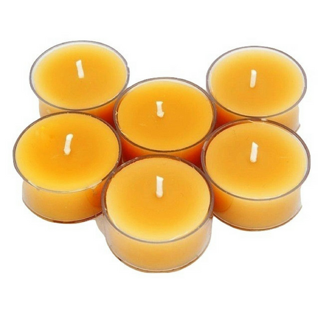 6 x 4-6 hour Pure Beeswax Tea Light Candles Poured Candles - Suz E Bee Candles