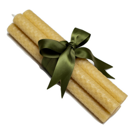 Dinner Stick Candle Bundle of four -  Hand-rolled, 100% Pure Australian Beeswax Rolled Candles - Suz E Bee Candles