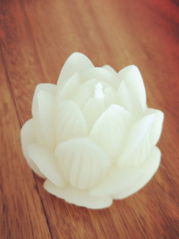 Lotus flower - Hand poured, Pure Australian Beeswax Candle Poured Candles - Suz E Bee Candles