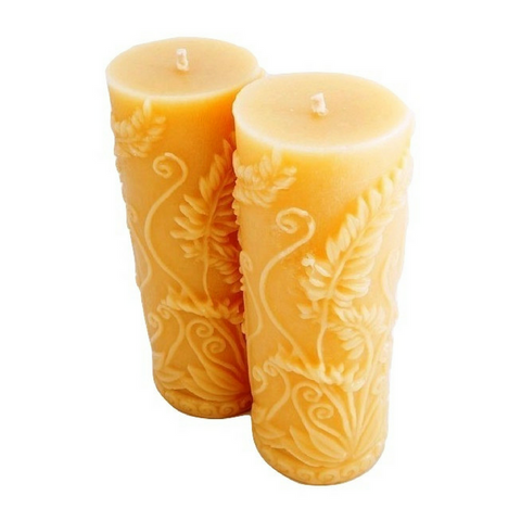 Fern Pillar -  Hand Poured, Pure Australian Beeswax Pillar Candle Poured Candles - Suz E Bee Candles