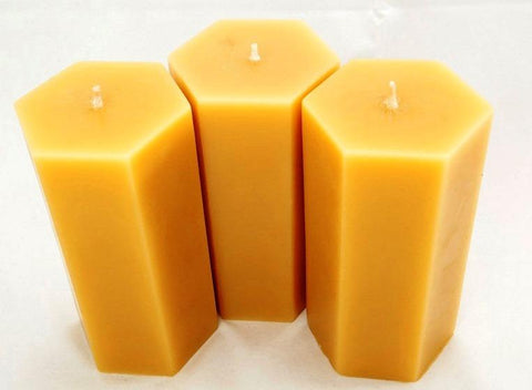 "6"" Tall Hexagon - Hand poured Pure Australian Beeswax Candle Poured Candles - Suz E Bee Candles"