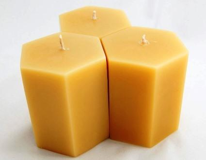 "3.5"" Tall Hexagon - Hand poured Pure Australian Beeswax Candle Poured Candles - Suz E Bee Candles"