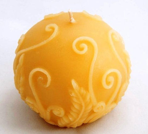 Fern Round Candle - Hand poured, All Natural, Pure Australian Beeswax Candle Poured Candles - Suz E Bee Candles