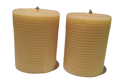 10cm Tall Hand rolled 100% Pure Australian Beeswax Pillar Candle Rolled Candles - Suz E Bee Candles
