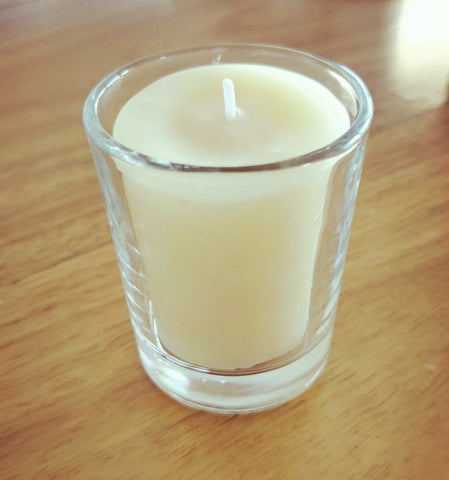 votive candle beeswax glass holder