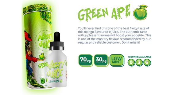 Green Ape- Nasty Ejuice - Railway City Vapes