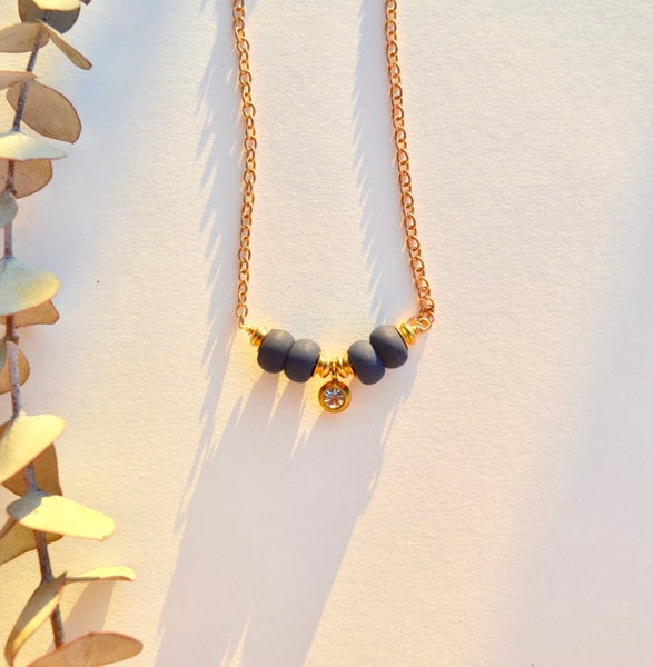 Helena - Navy beaded with crystal accent gold plated necklace - dainty, minimalist, simple