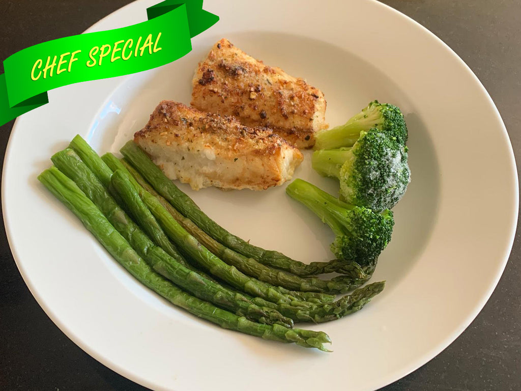 Baked Cod Fish with Broccoli and Asparagus