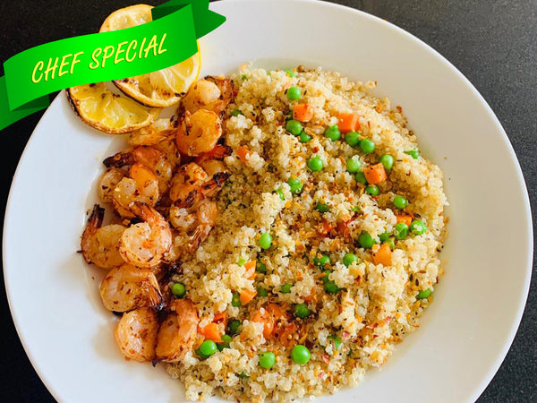 Baked Garlic Shrimps with Vegetarian Quinoa