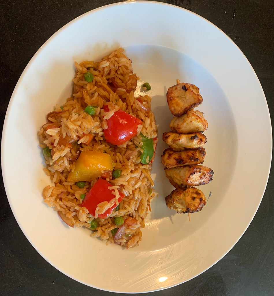 Chicken Kebab with vegetable fried rice