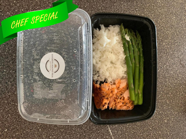 Salmon With Asparagus And Coconut Jasmine Rice