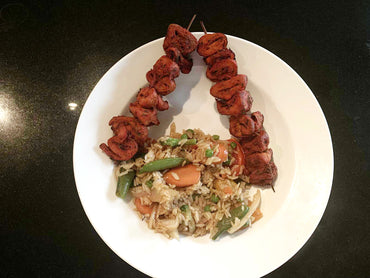 Soya kabab with fried rice