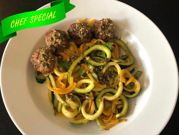 Zucchini and Squash zoodles with Pesto Turkey Meat Balls