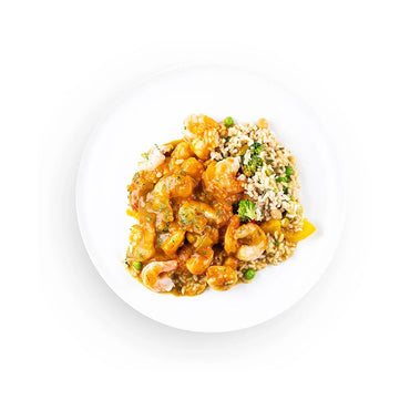 Coconut Curry Shrimp with Rice and Vegetables