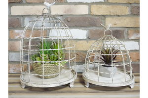 Set of 2 Rustic Bird Cages