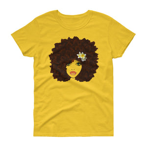 Afro Flower Girl: Women's short sleeve t-shirt