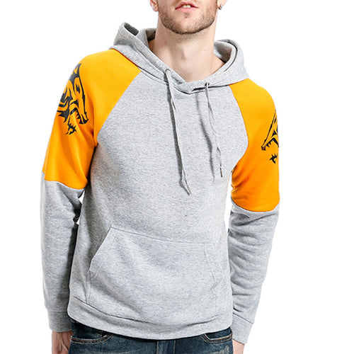 Contrast Color Printed Hooded Men's Hoodies
