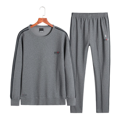 Round Neck Long Sleeve Cotton Men's Sports Suit