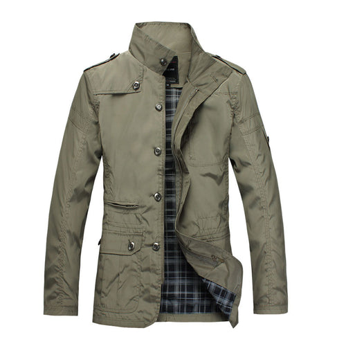 Stand Collar Zipper Plain Casual Men's Trench Coat