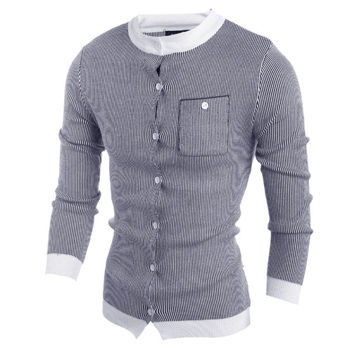 Single-Breasted Striped Cold-proof Men's Sweater