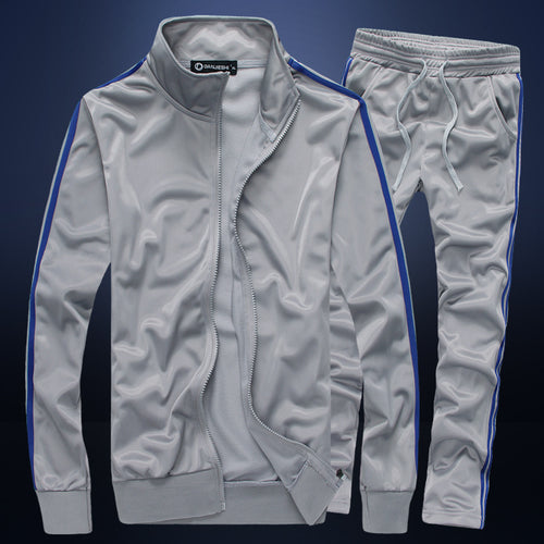 Pure Colour Collar Self-cultivation Men's Sports Suit