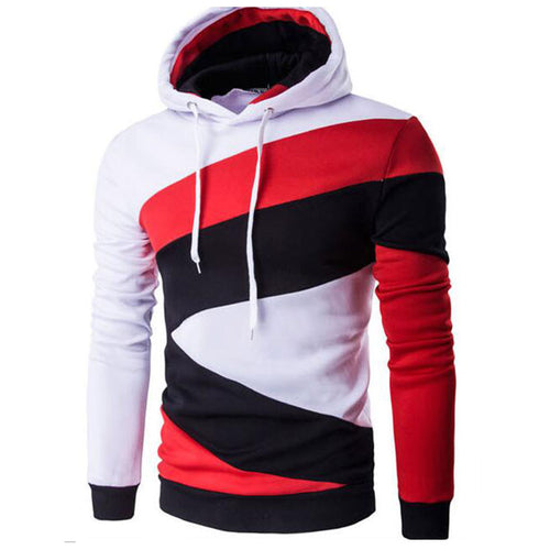 Color Block Hooded Pullover Geometric Men's Hoodies
