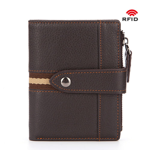 Anti-theft  Genuine Leather  Short Paragraph Men's Wallets
