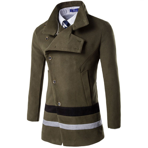 Wool Blends Casual Color-blocked Lapel Men's Trench Coat